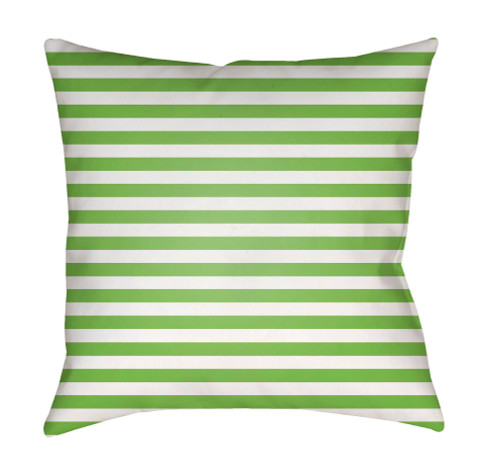 """18"""" Green and White Striped Square Throw Pillow Cover with Knife Edge - IMAGE 1"""