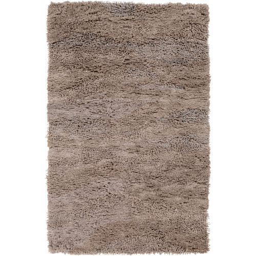 5' x 8' Solid Taupe Brown Rectangular Hand Woven Wool Area Throw Rug - IMAGE 1