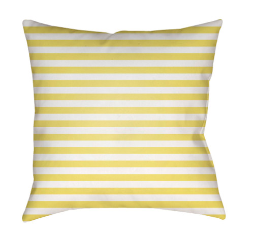 "18"" Yellow and White Striped Square Throw Pillow Cover with Knife Edge - IMAGE 1"