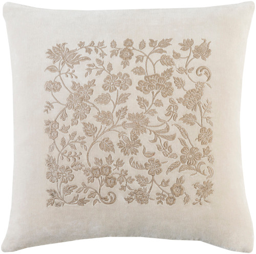 "18"" Beige and Brown Floral Square Throw Pillow - Poly Filled - IMAGE 1"
