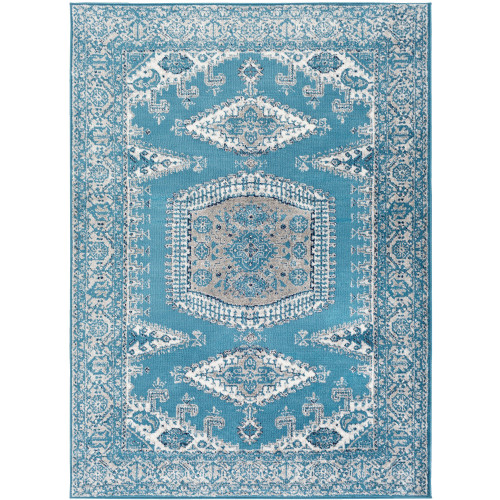"""5'3"""" x 7'3"""" Teal and Beige Persian Floral and Paisley Pattern Rectangular Synthetic Area Rug - IMAGE 1"""