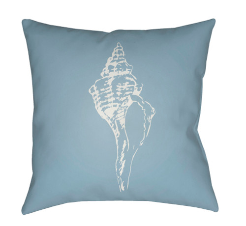 "18"" Blue and White Shell Printed Square Throw Pillow Cover - IMAGE 1"