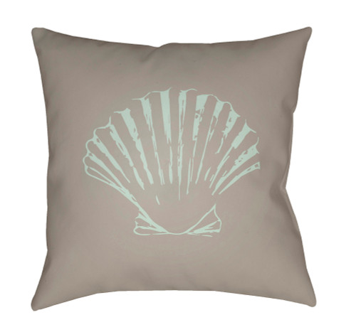 """18"""" Brown and Pale Blue Seashell Printed Square Throw Pillow Cover - IMAGE 1"""