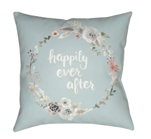 """20"""" Pistachio Green and White Floral """"happily ever after"""" Printed Square Throw Pillow Cover - IMAGE 1"""
