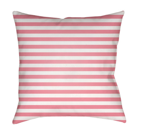 """18"""" Pink and White Striped Square Throw Pillow Cover with Knife Edge - IMAGE 1"""