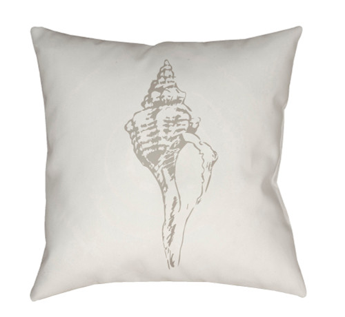 """18"""" Cream White Shell Printed Square Throw Pillow cover - IMAGE 1"""