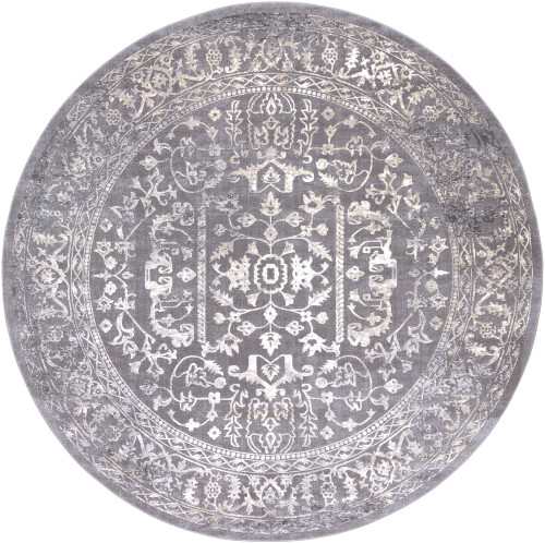 5.25' Charcoal Blue and Ivory Floral Round Area Throw Rug - IMAGE 1