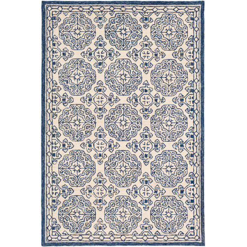 6' x 9' Blue and Ivory Geometric Mandala Patterned Rectangular Hand Tufted Area Rug - IMAGE 1