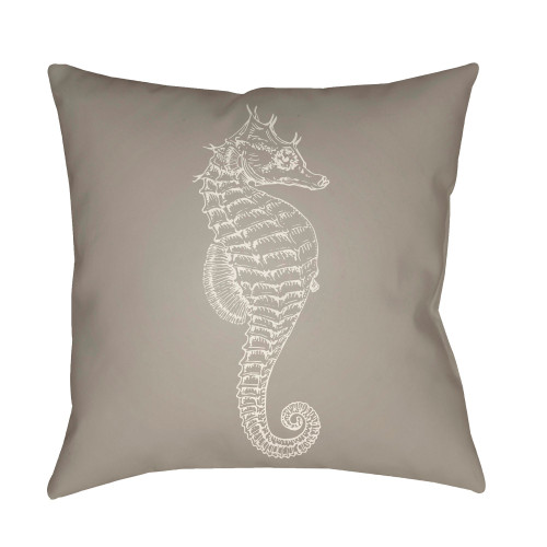 """18"""" Fossil Gray and White Seahorse Square Throw Pillow Cover - IMAGE 1"""