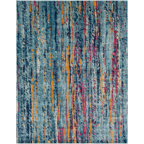 """9'3"""" x 12'6"""" Green and Orange Distressed Abstract Design Rectangular Machine Woven Area Rug - IMAGE 1"""