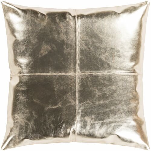 """22"""" Gold Colored Solid Leather Throw Pillow Cover with Knife Edge - IMAGE 1"""