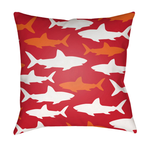 """18"""" Red and White Shark Printed Square Throw Pillow Cover with Knife Edge - IMAGE 1"""