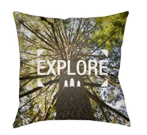 """20"""" Green and Brown Explore Printed Square Throw Pillow Cover - IMAGE 1"""