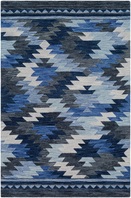 5' x 7.5' Geometric Patterned Blue Rectangular Area Throw Rug - IMAGE 1