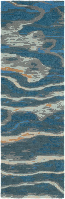 2.5' x 8' Navy Blue and Beige Abstract Style Rectangular Area Throw Rug Runner - IMAGE 1