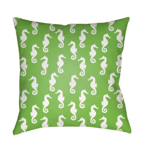 """18"""" Green and White Sea Horse Printed Square Throw Pillow Cover - IMAGE 1"""
