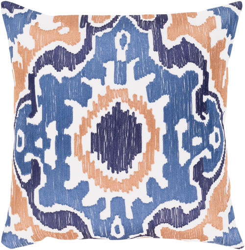 """22"""" Orange and Blue Embroidered Square Throw Pillow - Down Filler - IMAGE 1"""