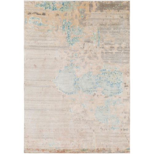 2' x 3' Beige and Sky Blue Distressed Finish Hand Knotted Rectangular Area Throw Rug - IMAGE 1