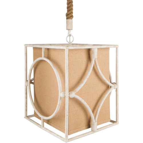 "53"" Cream White and Brown Hanging Pendant Ceiling Light Fixture - IMAGE 1"