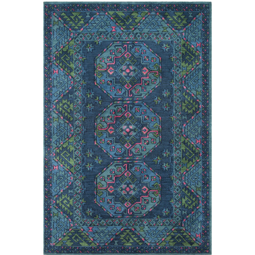 4' x 6' Geometric Tribal Pattern Blue and Green Rectangular Polyester Area Throw Rug - IMAGE 1