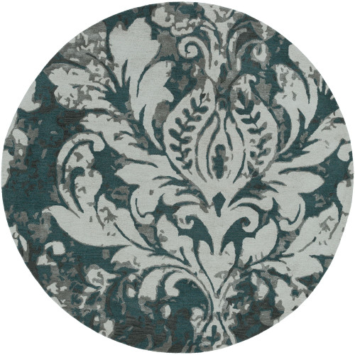 8' Floral Design Gray and Green Round Area Throw Rug - IMAGE 1