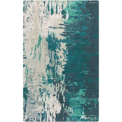 10' x 14' Abstract Teal Blue and Ivory Rectangular Area Throw Rug - IMAGE 1