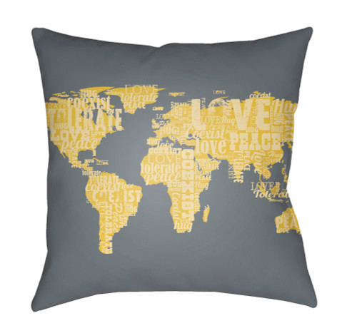 """18"""" Gray and Yellow World Map Printed Throw Pillow Cover with Knife Edge - IMAGE 1"""