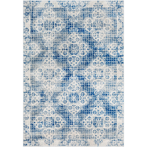3.9' x 5.5' Floral Blue and Ivory Rectangular Area Throw Rug - IMAGE 1