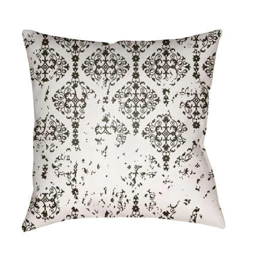 """20"""" Black and White Damask Patterned Square Throw Pillow Cover - IMAGE 1"""