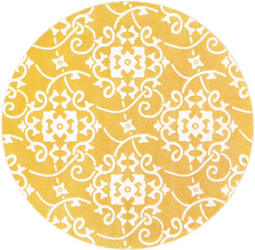 7.8' Yellow and White Damask Patterned Round Area Throw Rug - IMAGE 1