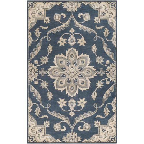 7.5' x 9.5' Medallion Patterned Blue and Beige Rectangular Area Throw Rug - IMAGE 1