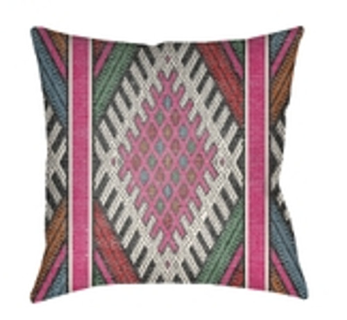 """26"""" Pink and White Abstract Patterned Square Throw Pillow Cover - IMAGE 1"""