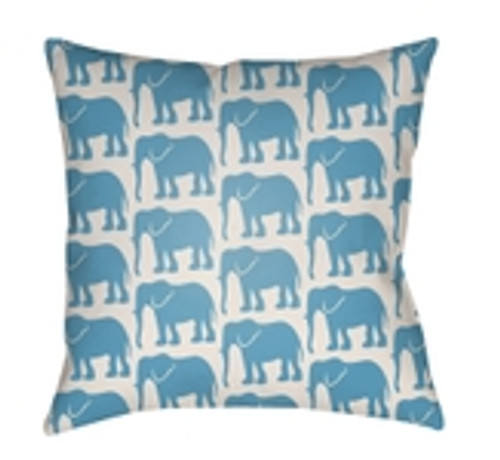 """26"""" Sea Blue and White Elephant Printed Square Throw Pillow Cover - IMAGE 1"""