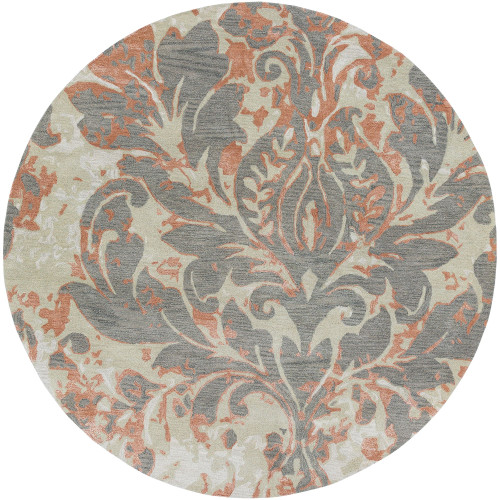 8' Floral Design Gray and Brown Round Area Throw Rug - IMAGE 1