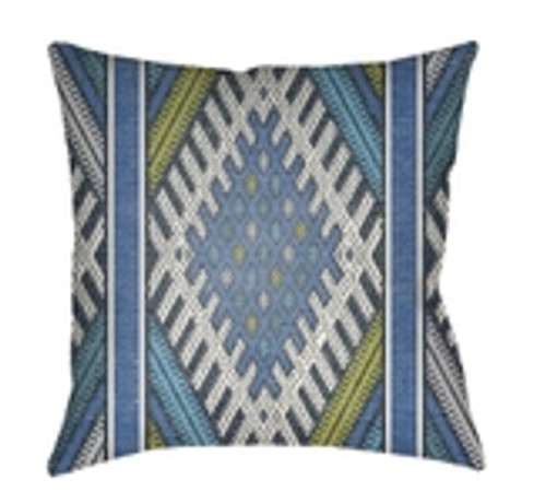 "26"" Blue and Green Abstract Patterned Square Throw Pillow Cover - IMAGE 1"