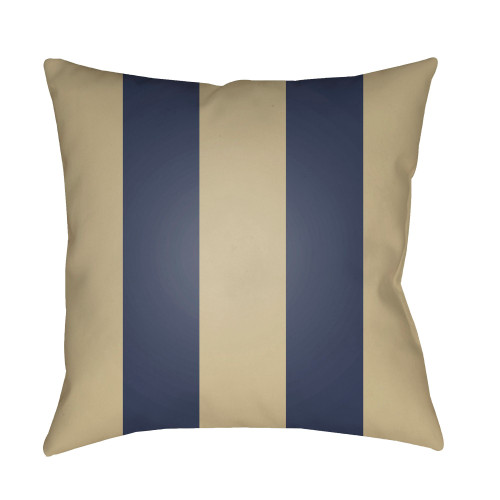 """20"""" Sand Beige and Navy Blue Striped Square Throw Pillow Cover - IMAGE 1"""