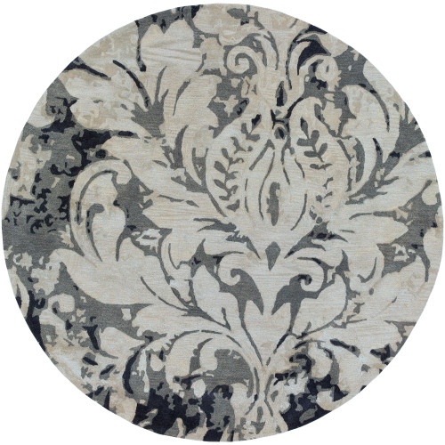 8' Floral Design Gray and Black Round Area Throw Rug - IMAGE 1
