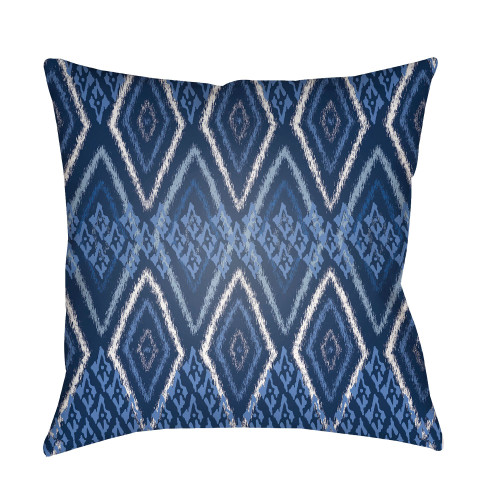 "20"" Navy Blue and White Digitally Printed Square Throw Pillow Cover - IMAGE 1"