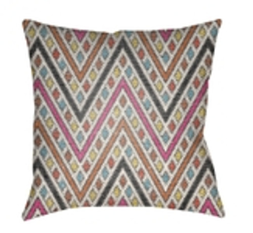 "26"" Orange and Pink Chevron Patterned Square Throw Pillow Cover - IMAGE 1"