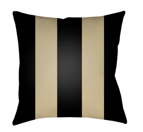 """20"""" Black and Sand Beige Striped Square Throw Pillow Cover - IMAGE 1"""
