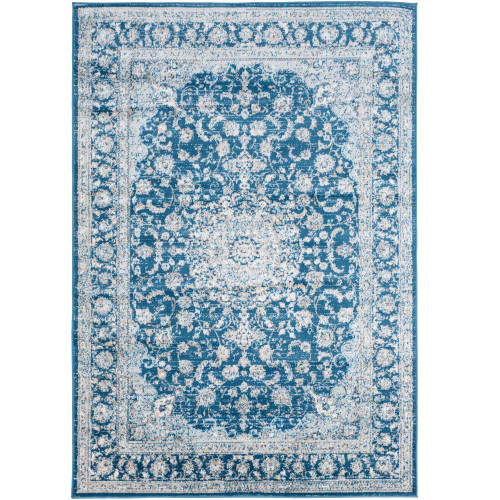 "5'3"" x 7'3"" Mandala Teal and cream Rectangular Area Rug - IMAGE 1"