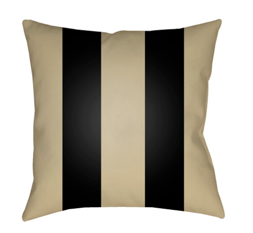 """20"""" Sand Beige and Black Striped Square Throw Pillow Cover - IMAGE 1"""