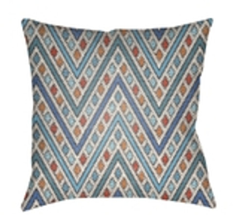 "26"" Blue and Orange Chevron Patterned Square Throw Pillow Cover - IMAGE 1"