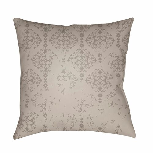 """20"""" Gray Damask Patterned Square Throw Pillow Cover - IMAGE 1"""