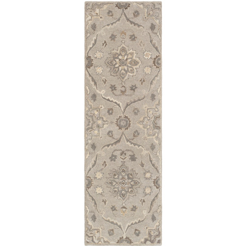 3' x 12' Persian Floral Style Brown, Gray and Beige Hand Tufted Wool Area Throw Rug Runner - IMAGE 1