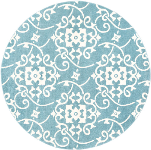 7.8' Blue and White Damask Patterned Round Area Throw Rug - IMAGE 1