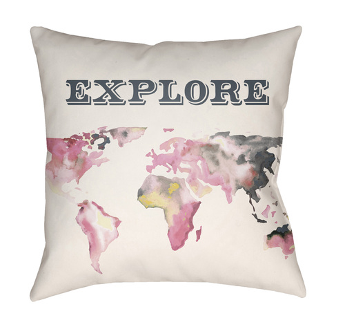 """18"""" White and Pink World Map """"EXPLORE"""" Printed Throw Pillow Cover with Knife Edge - IMAGE 1"""