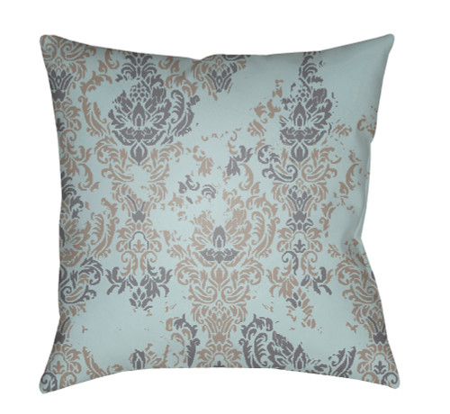 """20"""" Mint Green and Charcoal Gray Floral Square Throw Pillow Cover with Knife Edge - IMAGE 1"""