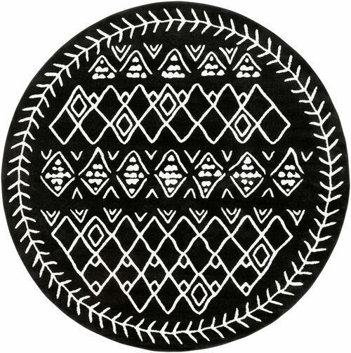 7.8' Tribal Patterned Black and White Round Area Throw Rug - IMAGE 1