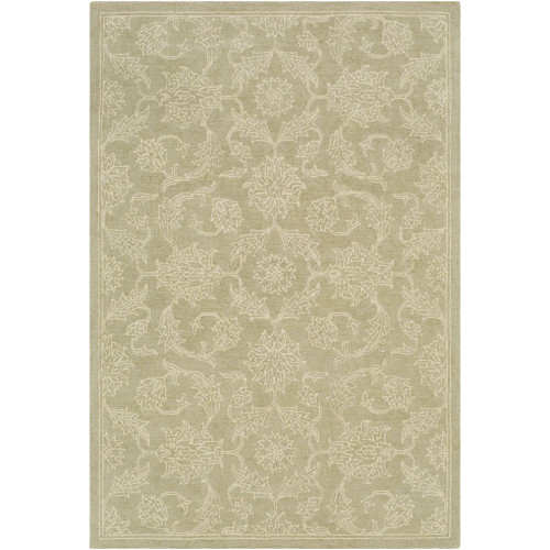 """5' x 7'6"""" Persian Floral Patterned Green and Ivory Hand Tufted Rectangular Area Throw Rug - IMAGE 1"""